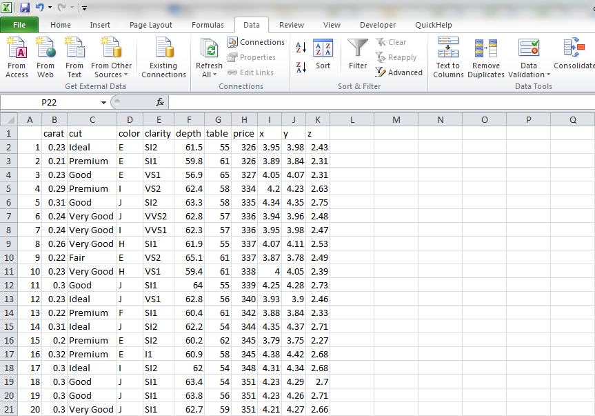Open data in excel
